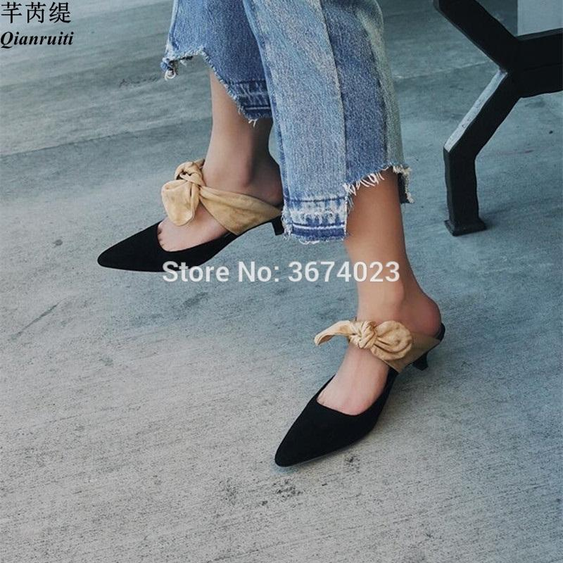 0286cd535df Wholesale Zapatos Mujer Kitten Heel Mules Bow Tied Slingbacks Closed Toe  Shoes Women Genuine Leather Slippers Street Sandals Green Shoes Shoe Shop  From ...