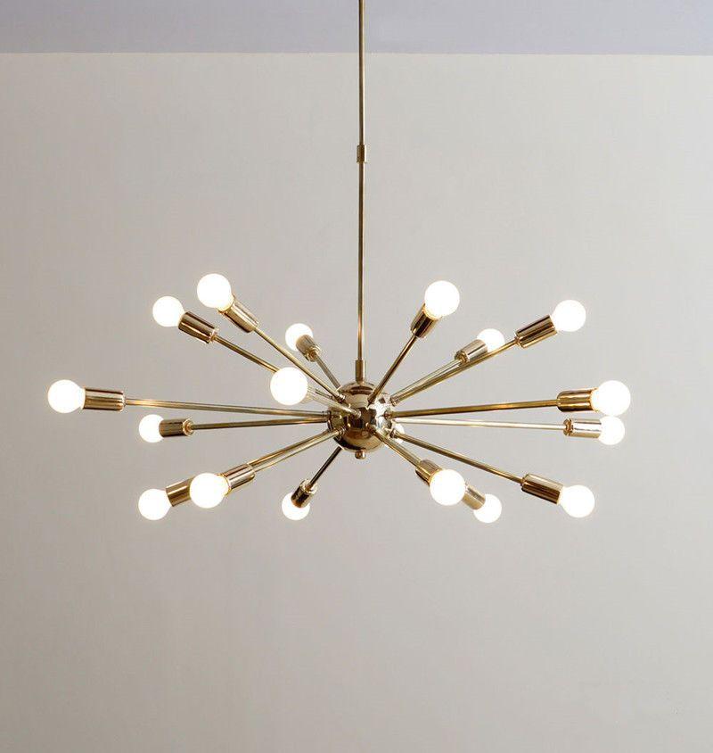 inspiring mid century hanging light bedroom | Mid Century Brass Sputnik Chandelier 18 Arms Modern ...