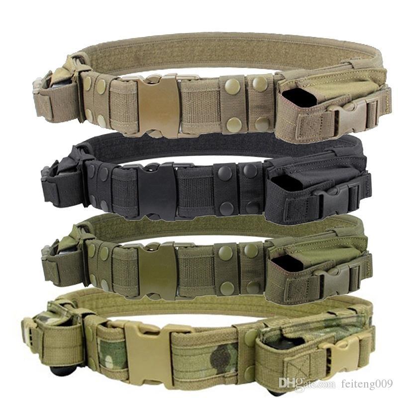 2018 New 1 piece Tactical Duty Belt Combat Police SWAT Pistol Magazine  Pouch Outdoor Tactical Training Belt #722399