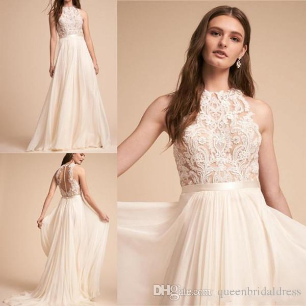 187ee8c05c6ac Discount 2019 Boho Beach Wedding Dresses A Line Jewel Sleeveless Sweep  Train Bridal Gowns With Lace Tulle Backless Wedding Gowns Wedding Dress  Online ...