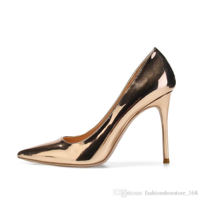 15c3809b7f131 Compre 35 45 Bombas Atractivas Zapatos De Mujer 10 Cm   8 Cm   6 Cm Oro  Rosa En Punta Zapatos De Tacón Alto Para Mujer Fiesta De Baile Metálico  Punta ...