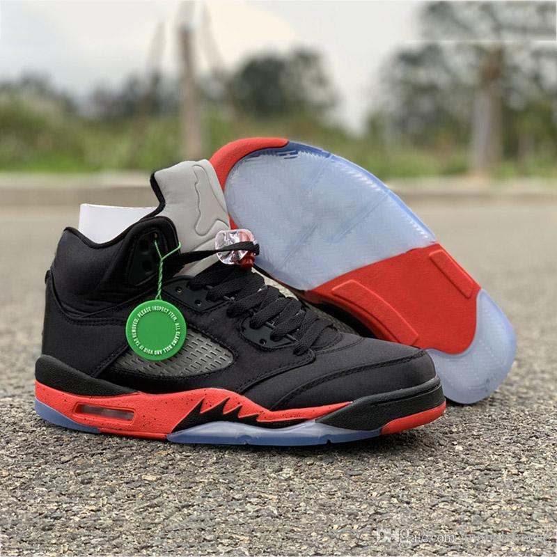outlet store 18e48 74585 Ins Hot Satin Basketball Shoes 5s Silk Black Red Mens 2019 Brand Designer  Real Leather Upper Quality Trainers Sports Sneakers