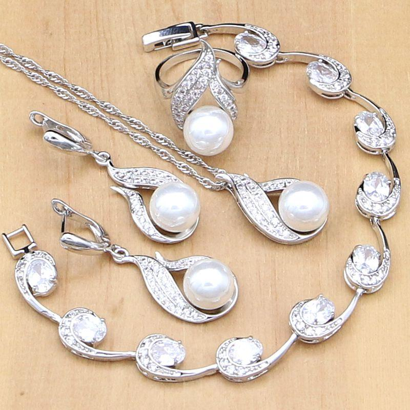 Natürliche Weiß Zirkonia Braut Schmuck Set 925 Silber Schmuck Ohrringe Anhänger Halskette Sets Für Frauen Schmuck & Zubehör