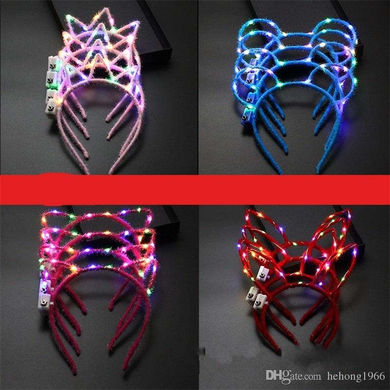 LED Lamp Rabbit Ears Horn Crown Flash Of Light Cat Ear Hairband Easter Hair Hoop Luminescence Concert Atmosphere Props 2 8ntb1