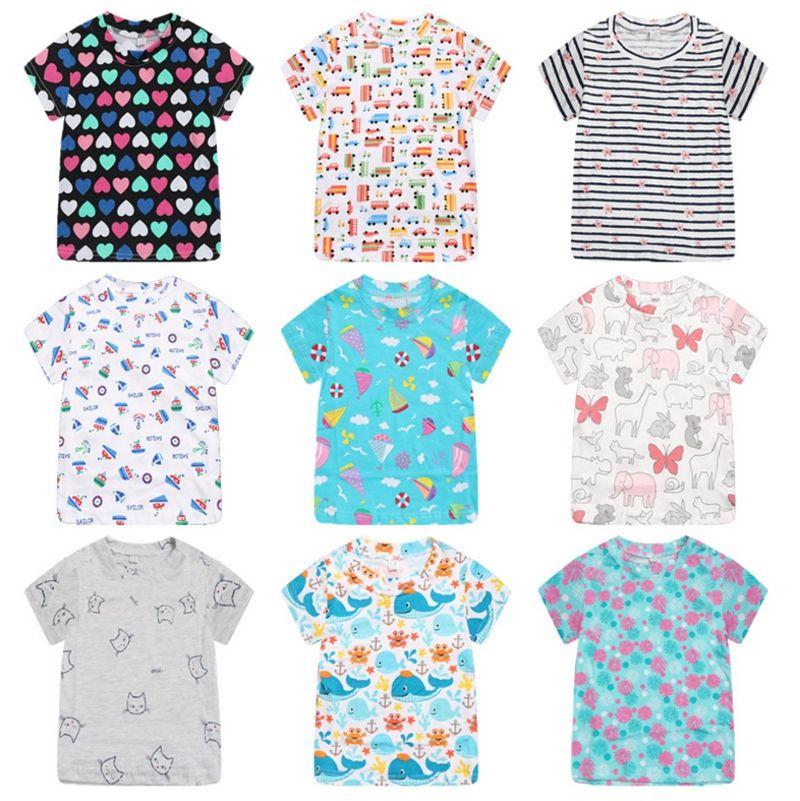 99949c7825 Kids Shirts 100% Cotton Baby Girls T Shirts Short Sleeve Baby Boys Tees  Printed Children Tops Summer Kids Clothing 18 Designs YW2363
