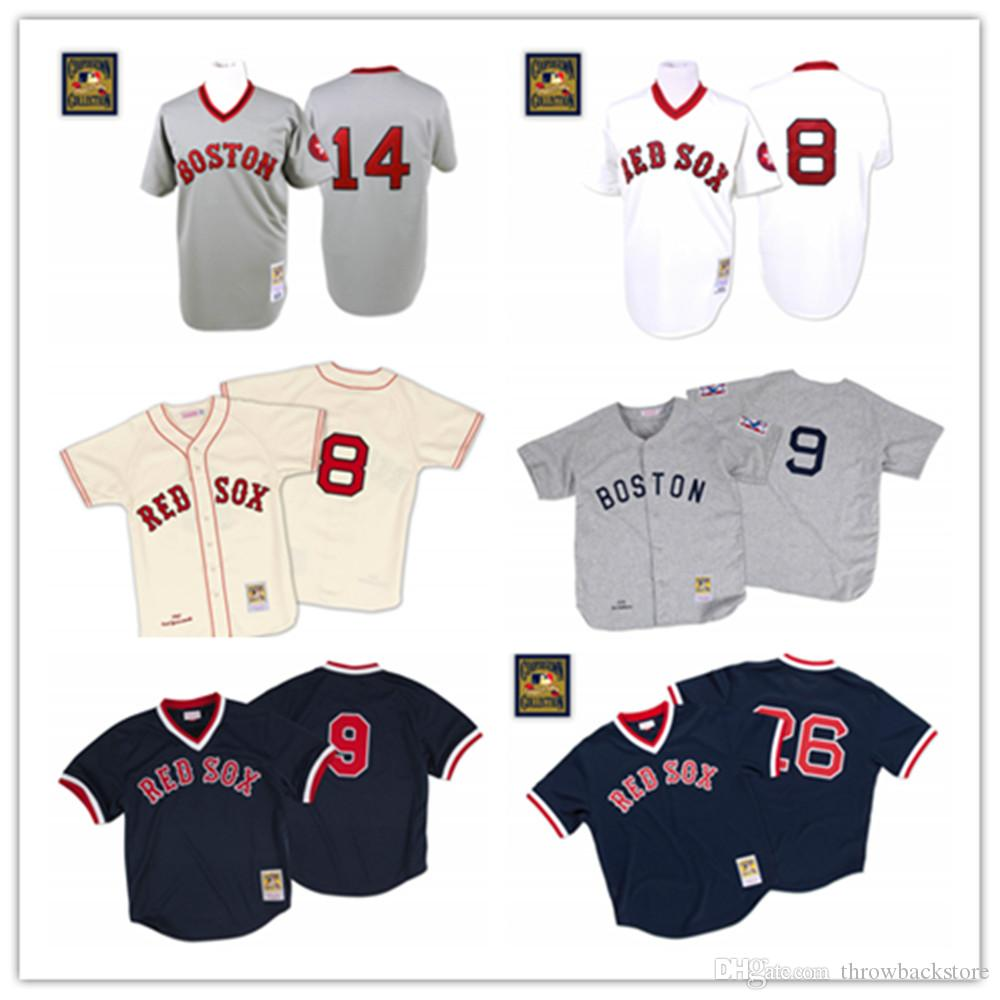 Men's Boston Ted Williams Jersey Sox Wade Boggs Red 1992 Carl Yastrzemski Jim Rice 1975 Baseball Jerseys