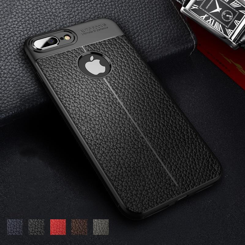 6ed2ce31a02 Litchi Business Silicone Case for IPhone 7 8 6 S Plus 5 5S Cases for ...