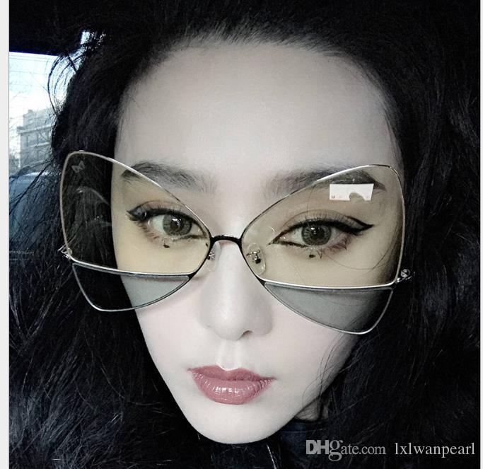 Double-color lenses Triangular butterfly lady sunglasses Fashion Sunglasses