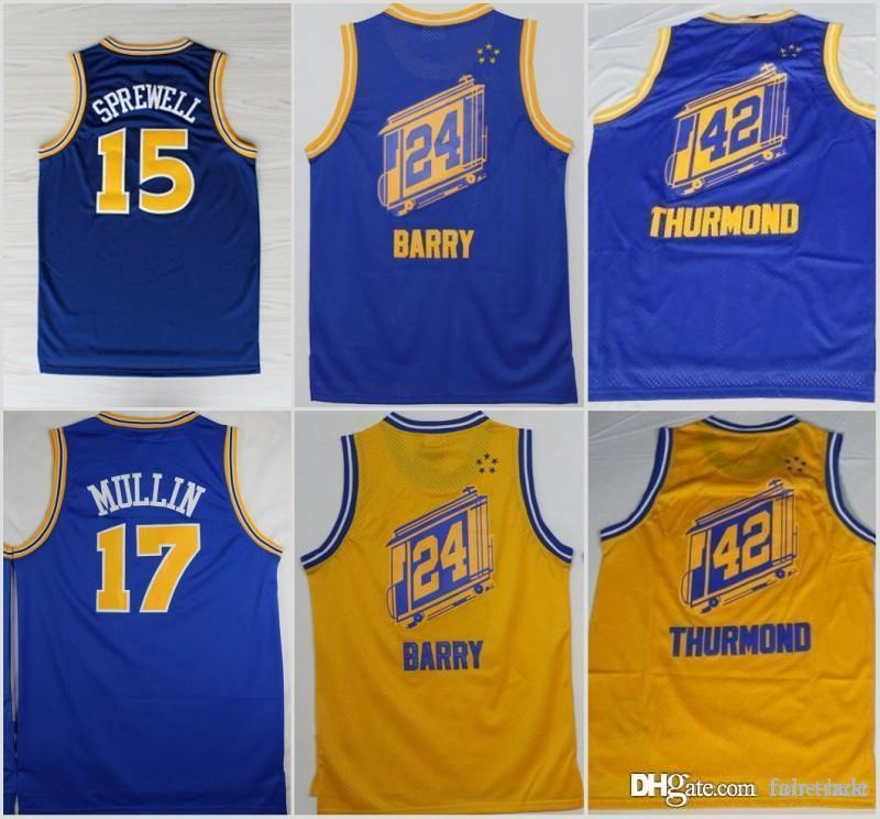 new product aa501 a5384 Golden 1State #17 Chris Mullin #15 Latrell Sprewell Warriors 24 Rick Barry  42 Nate Thurmond basketball Jersey Stitched