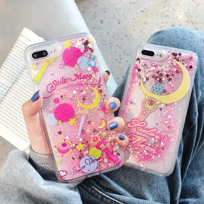 b0848ebbc4 Cartoon Flower Sailor Moon Pretty Girl Glitter Star Flowing Quicksand  Liquid Case for iPhone X XS MAX XR 6 6S 7 8 Plus Cover
