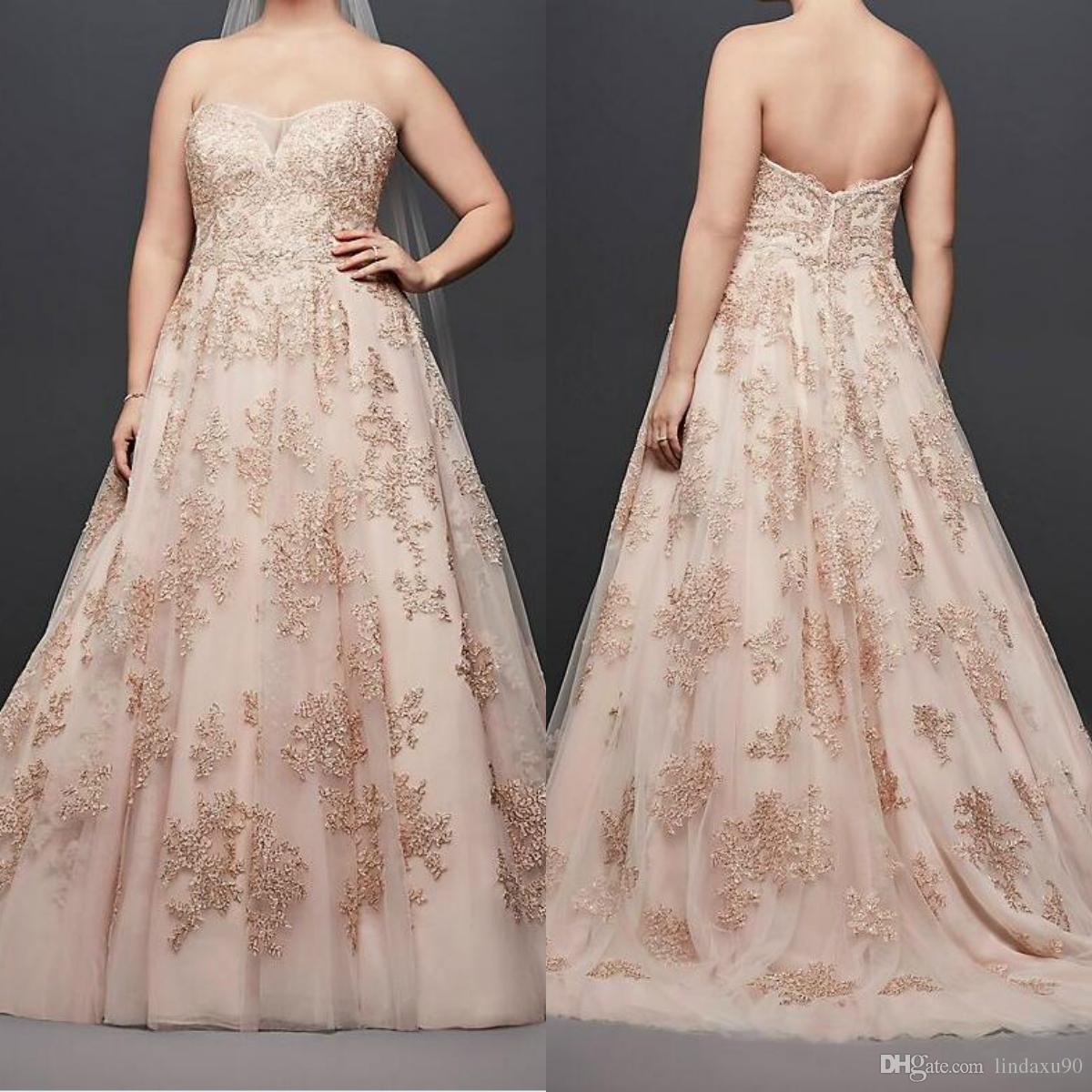 98fdf0d47bd Oleg Cassini Metallic Lace Plus Size Wedding Dresses Sweetheart Lace  Appliqued Beads 2019 Princess Garden Wedding Dress Bridal Gowns Wedding  Dress Wedding ...