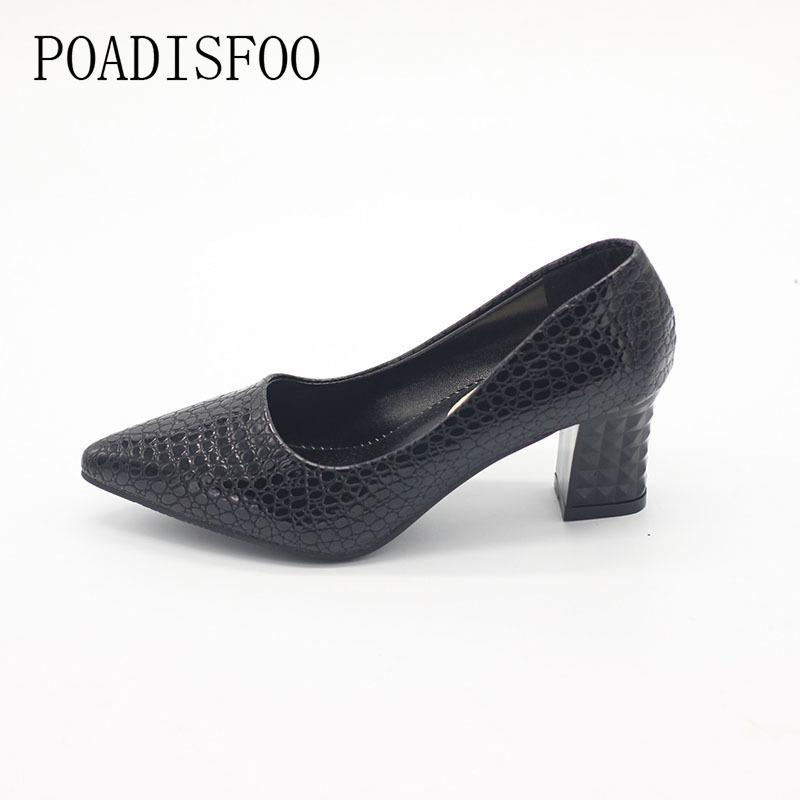 Designer Dress Shoes Poadisfoo New Women's Fashion Pumps Autumn Fashion Pu Shallow Low-heeled With High Heel Pointed .lss-888