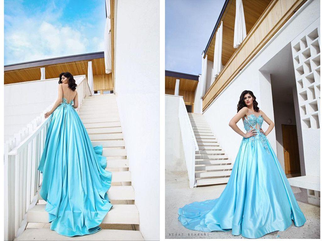hot sale online dfd4e 9d2fe Eine Linie Blau Sexy Lange Abendkleider Forma Kleider Kleider Strasssteine  2019 Elie Saab Besondere Anlässe Ballkleider Libanon