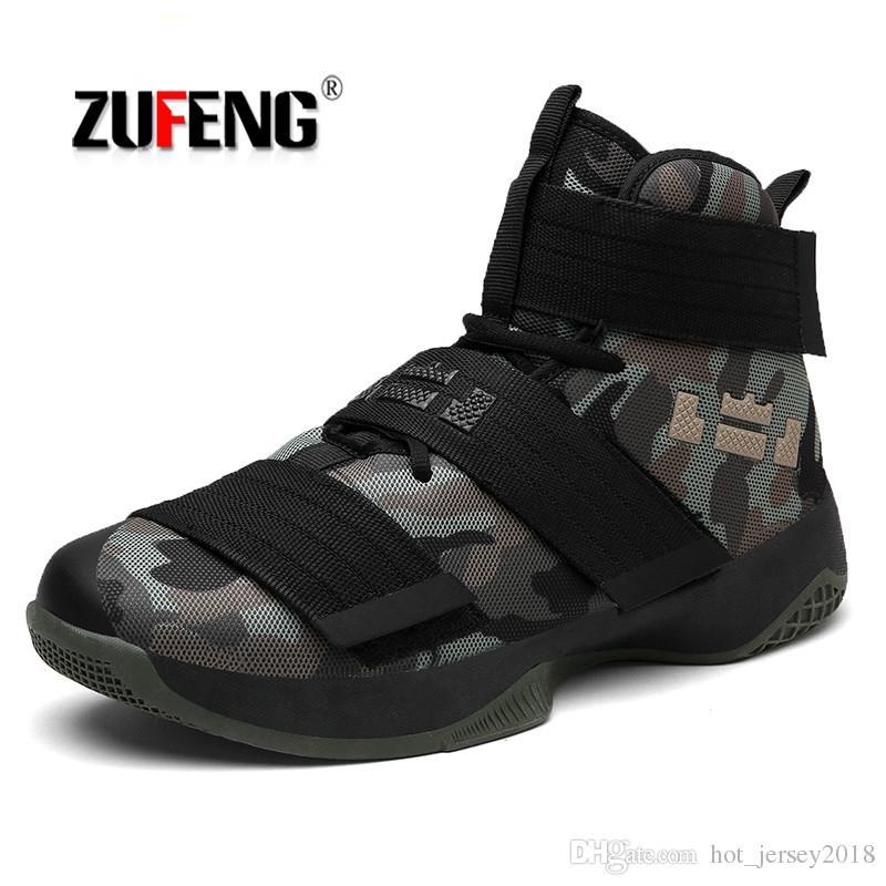 f5ad9ab518d Compre ZUFENG Zapatillas De Baloncesto Profesionales Lebron James High Top  Botas De Entrenamiento De Gimnasio Botines Al Aire Libre Hombres Zapatillas  De ...