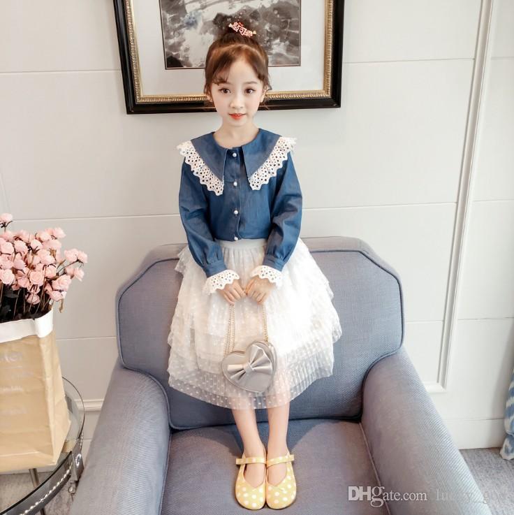 623aea910 2019 spring new Korean Super soft fabric children's shirt knot neck girl  Korean fashion shirt cute long sleeve clothing free