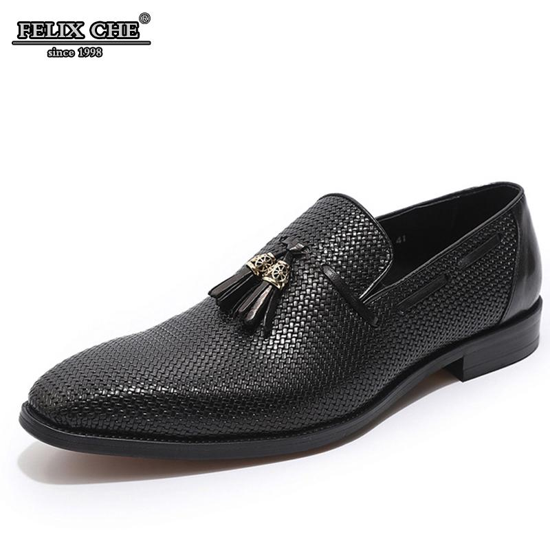 LUXURY GENUINE LEATHER BLACK BLUE WOVEN PRINTS LEATHER SHOES MEN DRESS WEDDING SHOE SLIP ON POINTED TOE TASSEL LOAFER WORK SHOES