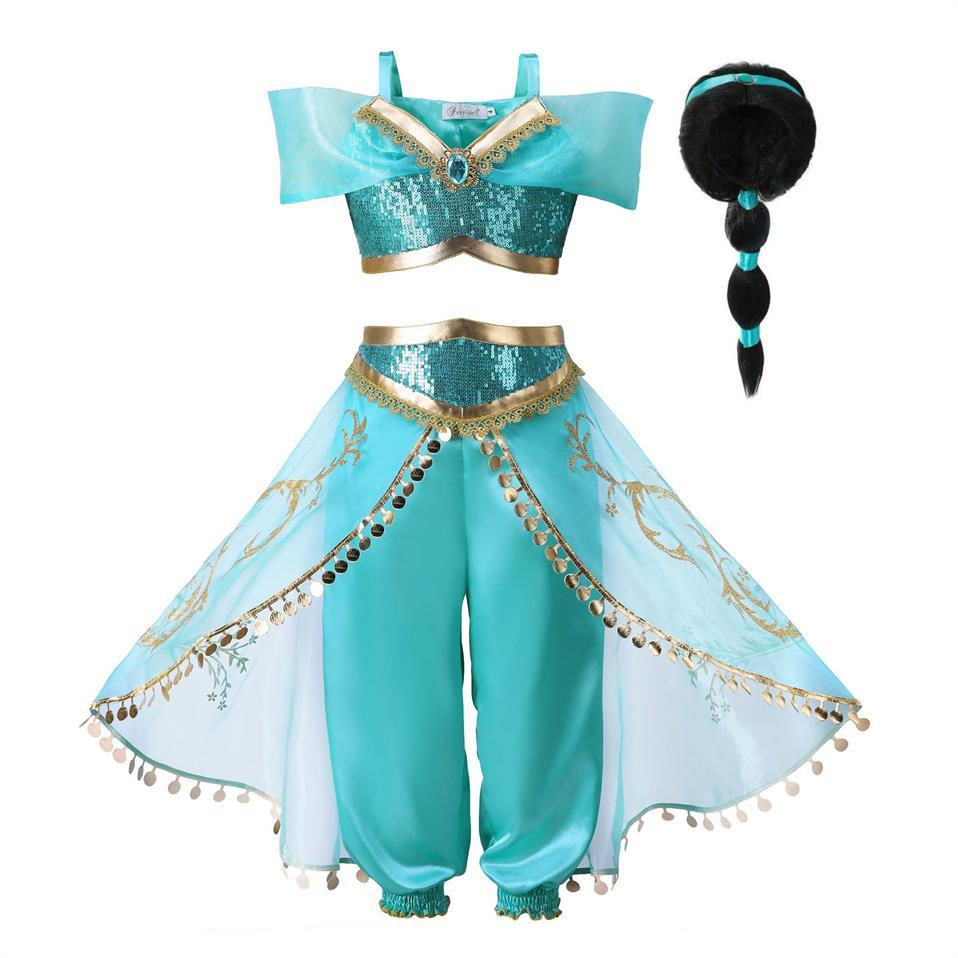 dcf6d9ce43d6b 2019 Arabian Fancy Dress Up For Girls Sleeveless Sequined Jasmine Cosplay Princess  Costume Kids Halloween Set Clothes With Wig JASMINE O From ...