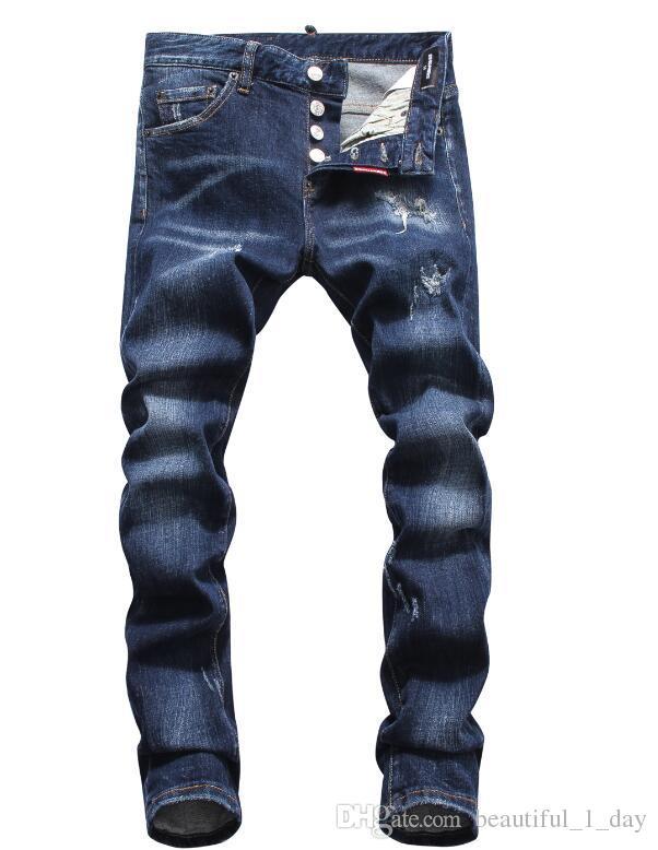 7e06833f1275a4 Acquista Jeans Ds2 Jeans Afflitti Strappato Biker Jeans Vernice Pantaloni  Fit Moto Biker Denim Hip Hop Designer Pantaloni Moda Uomo Nero Jeans 28 38  A ...