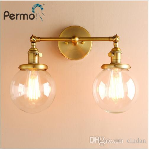 Modern Bedroom Wall Lights Stair Wall Lamp Sconce 5.9'' Globe Glass Double Ball Heads Vintage Indoor Lighting Fixtures