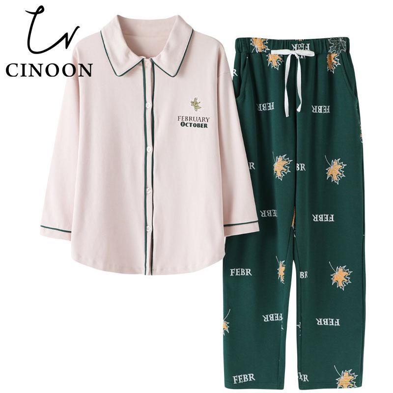890158ecb5 CINOON Cotton Pajamas Sets For Women Turn-Down Collar Shirt Casual ...