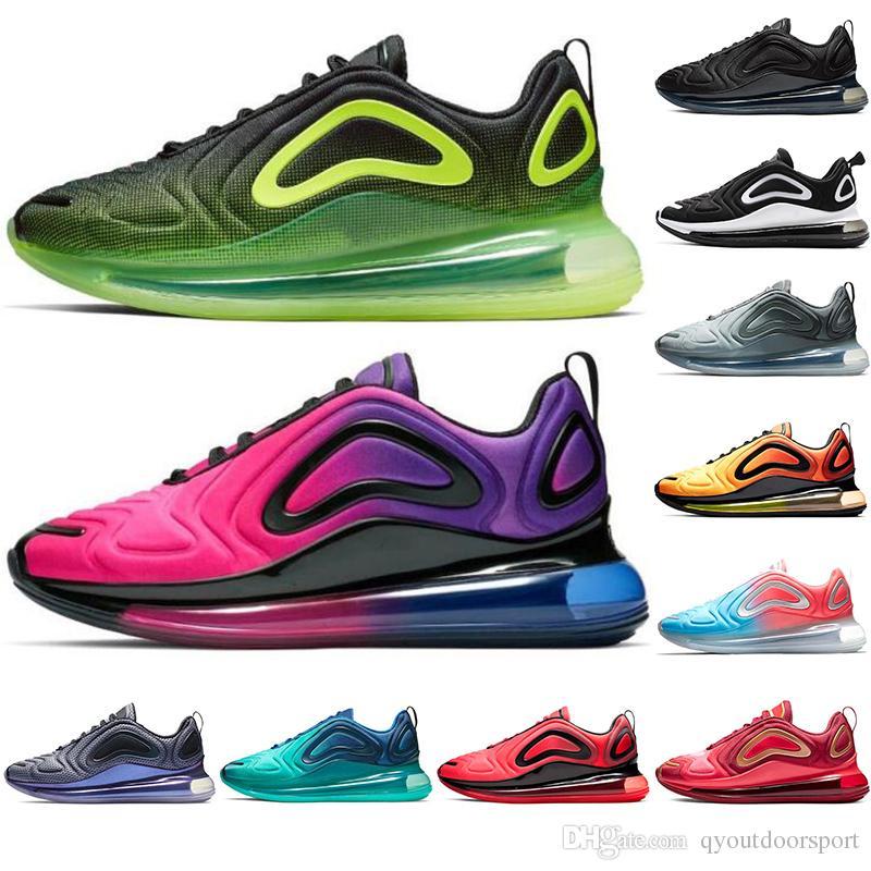 Nike air max 720 2019 Nouveau Chaussures Plein Coussiné Hommes Femmes Néon Triple Noir Rose mer Gris Carbone Coucher Du Soleil SUNRISE Métallisé