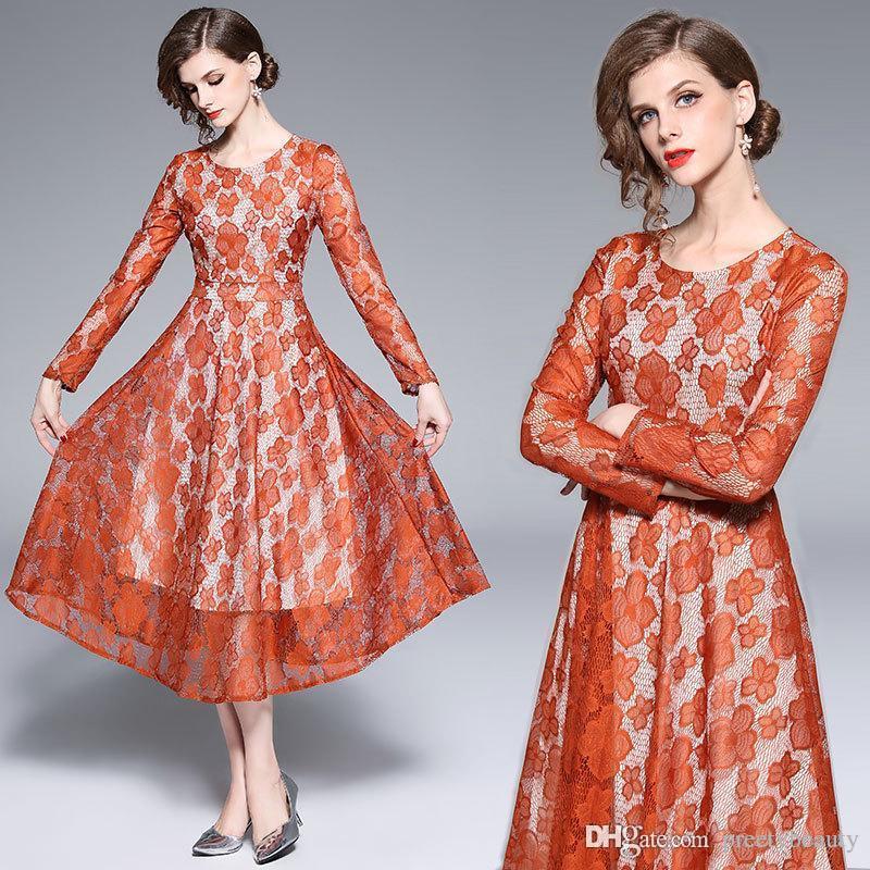 3ec642beb6c Acheter Longue Maxi Dress Pour Femme Dentelle Soirée De Bal Robes Femmes De  Mariage Invité Robes Ras Du Cou À Manches Longues Mince Une Robe De Ligne  De ...