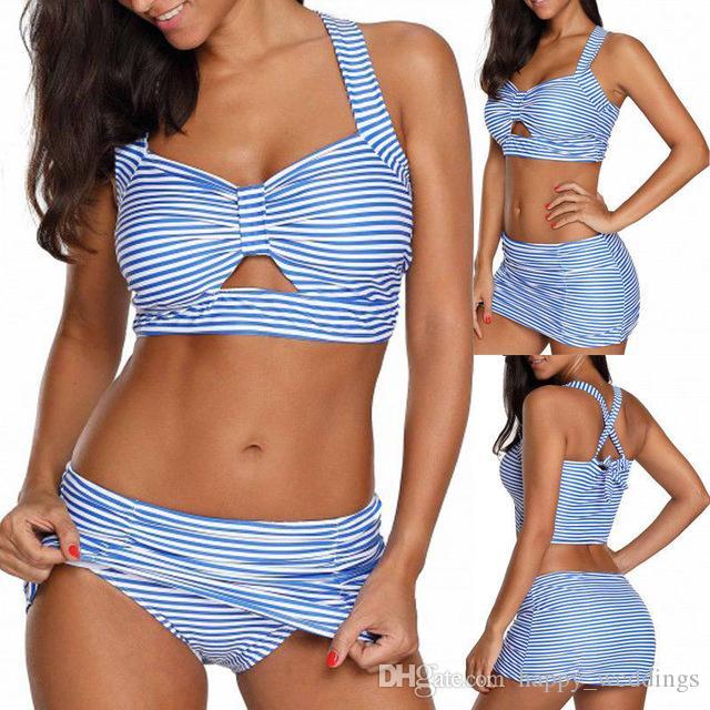 997aca903769c 2019 Retro Sexy Blue Striped Halter Bandeau Biquini Cut High Waist ...