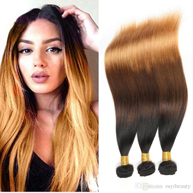 Indian Virgin Hair Raw Straight Ombre Three Tones 1B/4/30 Human Hair Extensions 1B 4 30 Double Wefts