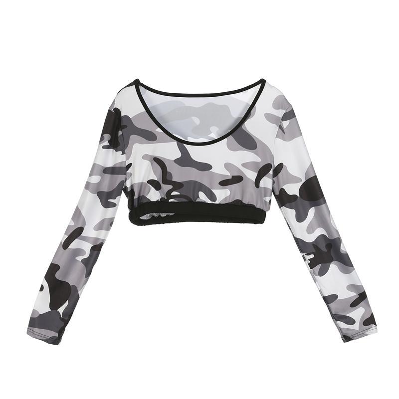 Ativa das mulheres Moda slim Casual manga comprida magro shirt Tops camuflagem impressão Pants Sportwear Set Workout Academia Leggings