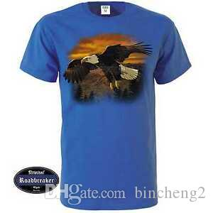 T Shirt Royal Blue avec un animal aigle - / Nature Motif Modèle Eagle Brown