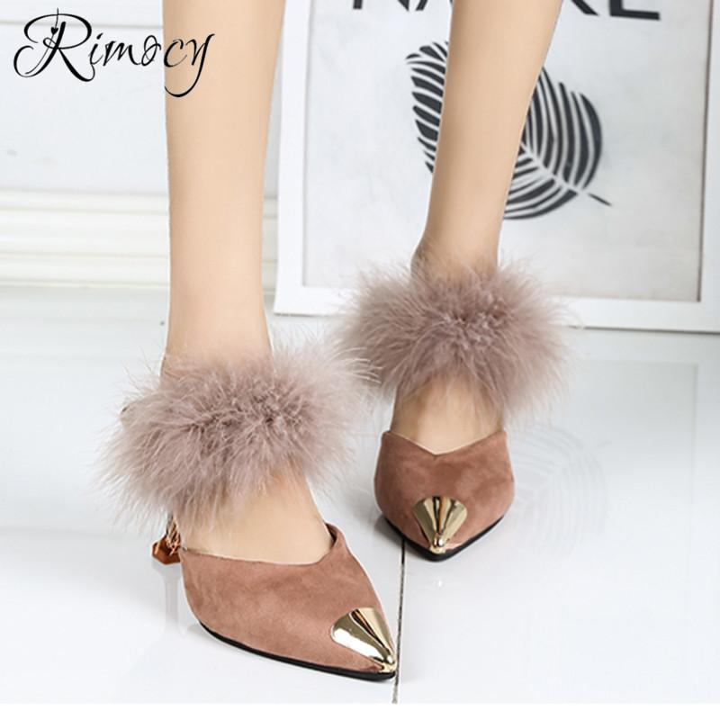 0b8f0e2617e3 Dress Rimocy Pointed Toe Sandals Women 2019 Summer New Kitten Heels  Slippers Ladies Slides Faux Fur Slingbacks Shoes Woman Pumps Mujer Mens  Dress Boots Men ...