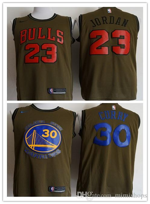 best service 3ce50 1b89d Men's chicago 2018 New bulls 23 MJ Home Red Golden Jersey State Warriors  Stephen Curry Jerseys Fast Free Shipping