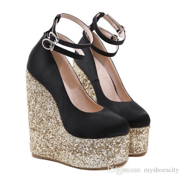 16cm Siyah Altın payetli Süper Yüksek Topuk Platform Wedge Lüks Tasarımcı Ayakkabı Kutusu ile gel