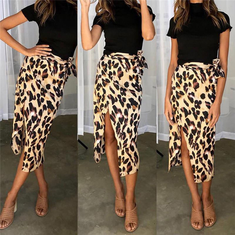 2018 Fashion Summer Women Bandage Leopard Swimwear Bikini Cover Up Sheer  Beach Midi Wrap Skirt Sarong Pareo Short Midi