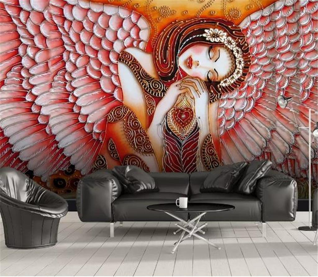 Custom Any Size 3D Wallpaper Modern Minimalist Embossed Angel Wings Beauty Living Room Bedroom Background Wall Wallpaper
