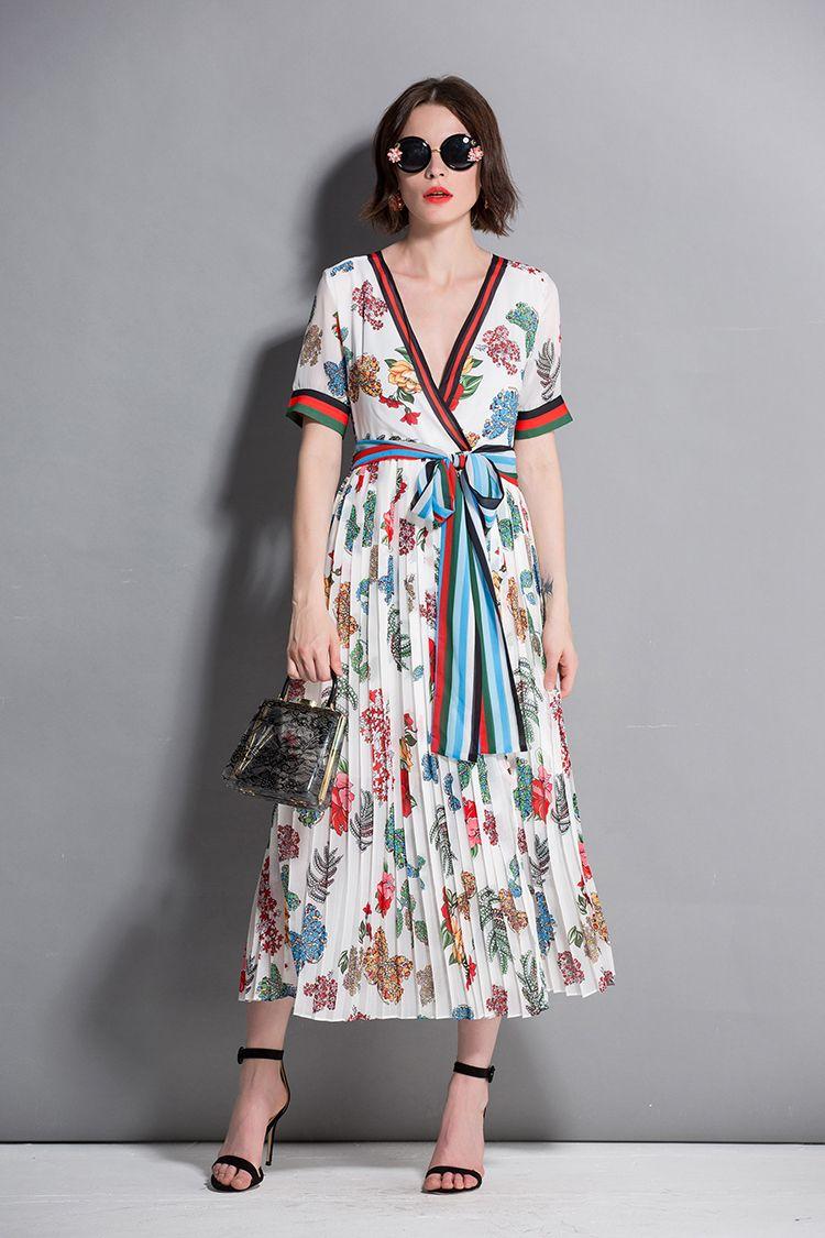 b1306592ee 2019 Short Sleeve Luxury Women Wrap Dresses Print Fashion Runway Summer  Vestido Belt Floral Print Mid Strip V Neck Ladies Elegant Dress Cocktail  Evening ...