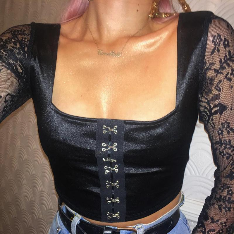 af48fc2c84a Womens T Shirt 2019 Spring New Sexy Lace Belted Clothing Fashion ...