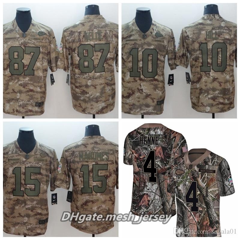 buy popular fb710 c01ba Men Kansas City 2019 Chiefs Football Jersey 15 Patrick Mahomes 10 Tyreek  Hill 87 Travis Kelce Henne Camo Salute to Service Jerseys