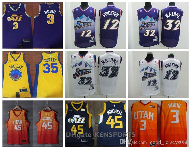 pretty nice d537a 33c3f Retro Men Utah Basketball Jersey City Edition 45 Donovan Mitchell 3 Ricky  Rubio 12 John Stockton 32 Malone Stitching Jerseys
