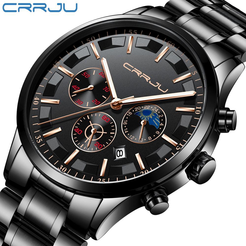 d640d9418337 Compre 2019 Top Luxury Brand CRRJU Moda Hombre Reloj De Cuarzo De Negocios  Hombres Deporte Completo Acero Impermeable Negro Reloj Relogio Masculino A   35.32 ...