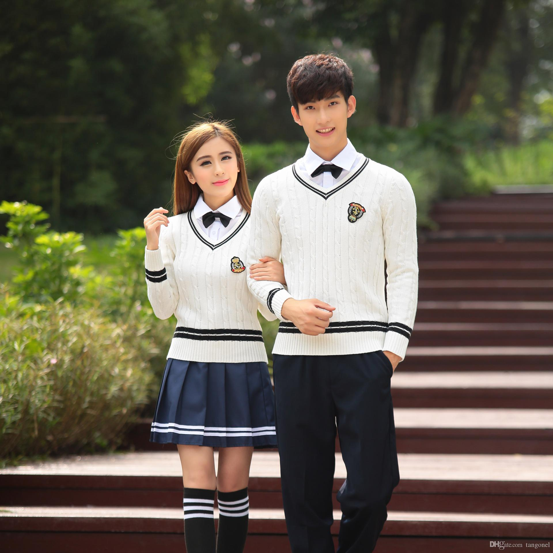 280d838e9 Japan Korea School Uniform Girls Cotton Sweater + Shirt + Skirt Winter  Students British School Clothing Set For Men And Women