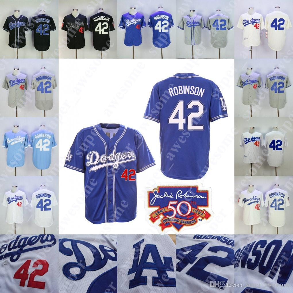 2019 42 Jackie Robinson Jersey With 50th Patch Brooklyn Baseball Jerseys  Cream Baby Blue White Grey Home Away All Stitched From Super awesome 4bb84a64beb