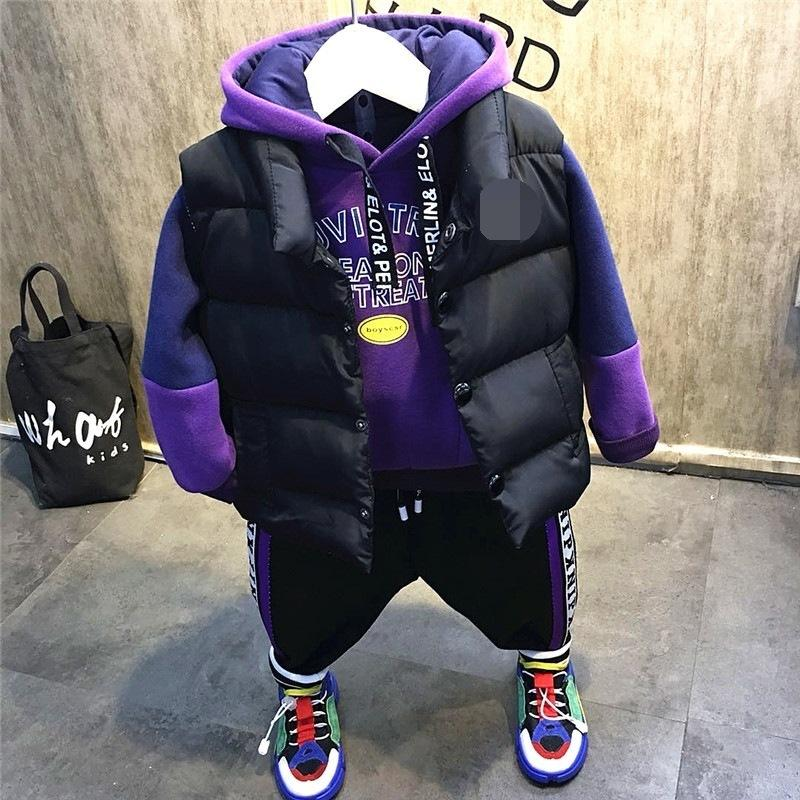 cdc0c0b4e 2019 Boys Christmas Outfit Kids Thanksgiving Clothing Set Baby Causal  Jacket Patchwork Hoodie And Velvet Pant Set Children 2 7T From Yosicil09,  ...