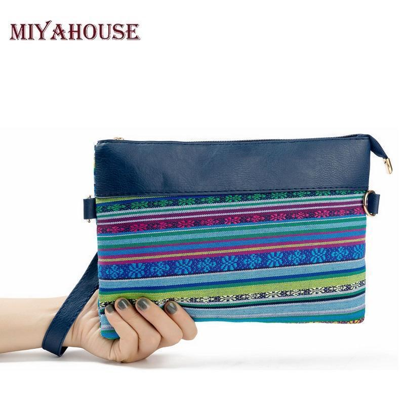 Miyahouse Fashion Patchwork Women Bag Striped Shoulder Bags Women Day  Clutches Canvas And Leather Handbags Small Envelope Bag Leather Handbag  Womens ... 48ab0c5bb7aeb
