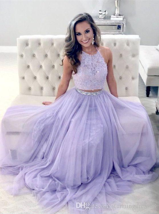 Romantic Lavender 2020 Two Piece Prom Party Dresses Halter Chiffon Applique Lace Sequins Ruched Celebrity Evening Formal Dress Long Cheap