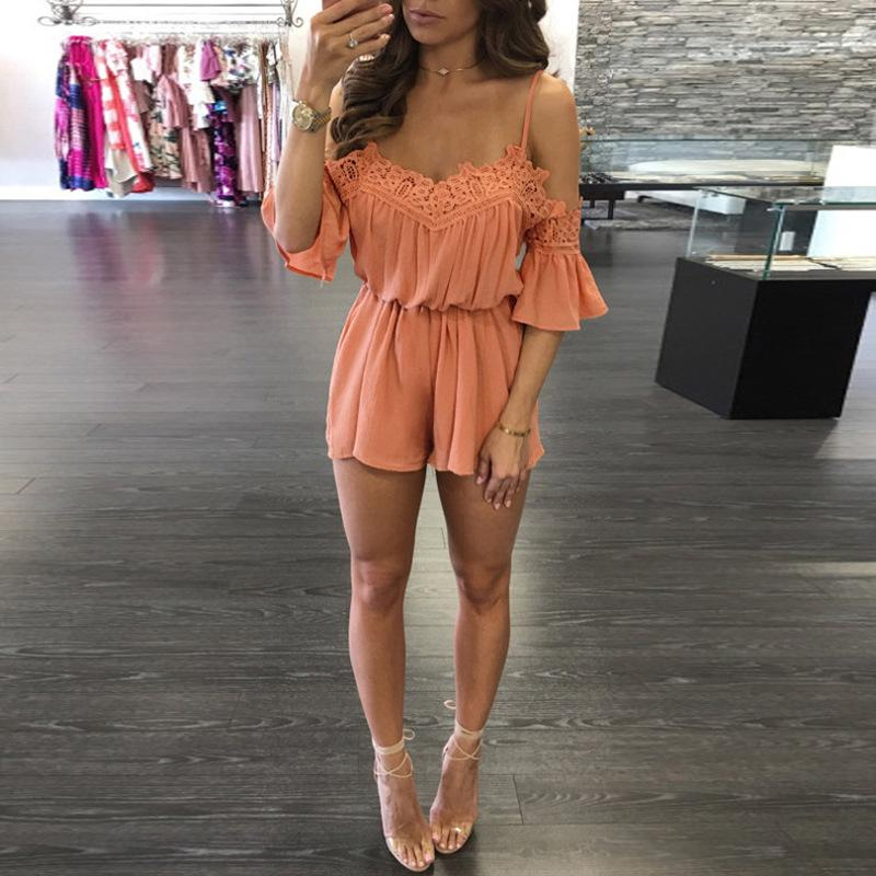 Lace Beach Playsuit V neck Off Shoulder Flare Short Sleeve Overalls For Women Loose Romper Combishort Femme Ete wy*