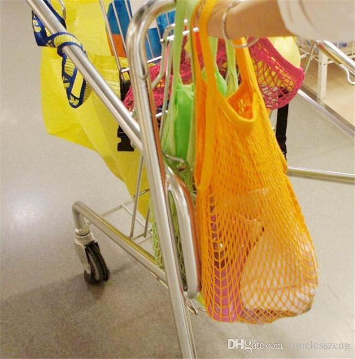 Sacchetto della drogheria riutilizzabile dello shopping e di grandi dimensioni Shopper Tote Maglia Borse di cotone della rete intrecciata Borse della spesa portatili Borsa di stoccaggio della casa