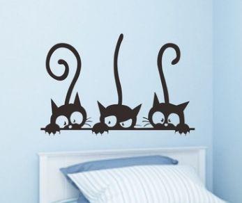 Lovely 3 Black Cute Cats Wall Sticker Moder Cat Wall Stickers Girls ...