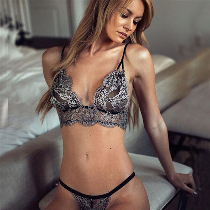 f6d78562777 2019 Bra Set Sexy Underwear Women Sheer Lace Bra Thin Seamless Wire Free  Bralette Breathable Bustier Adjusted Brassiere Lingerie From Vikey10, ...