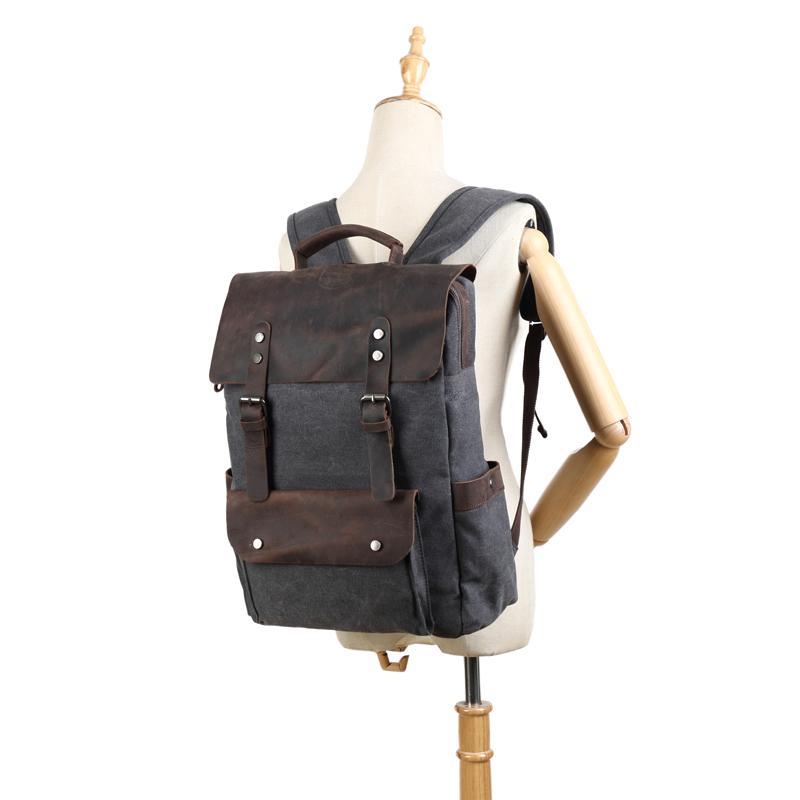 ef3f7bb3f48 Dropship Vintage Canvas Leather Backpacks for Men 14